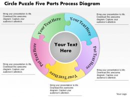 0914 Business Plan Circle Puzzle Five Parts Process Diagram Powerpoint Template