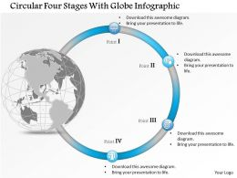 0914 Business Plan Circular Four Stages With Globe Infographic Powerpoint Presentation Template