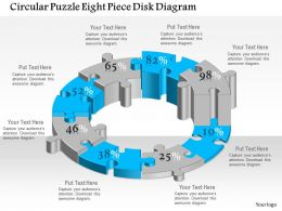 0914 Business Plan Circular Puzzle Eight Piece Disk Diagram Powerpoint Template