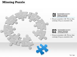 0914 Business Plan Circular Puzzle Pieces Connected With One Lying Seperate Powerpoint Template