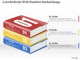 0914 Business Plan Colorful Books With Numbers Stacked Image Powerpoint Template