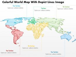 0914 Business Plan Colorful World Map With Depict Lines Image Powerpoint Template