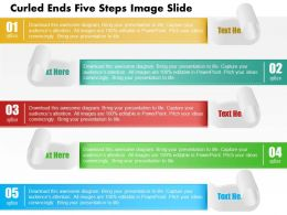 0914 Business Plan Curled Ends Five Steps Image Slide Powerpoint Template