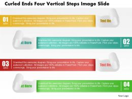 0914 Business Plan Curled Ends Four Vertical Steps Image Slide Powerpoint Template