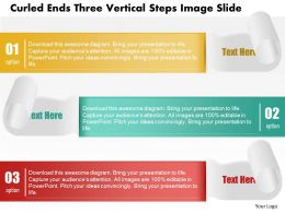 0914 Business Plan Curled Ends Three Vertical Steps Image Slide Powerpoint Template
