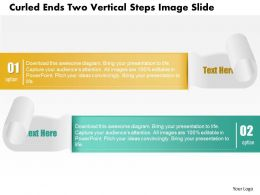 0914 Business Plan Curled Ends Two Vertical Steps Image Slide Powerpoint Template