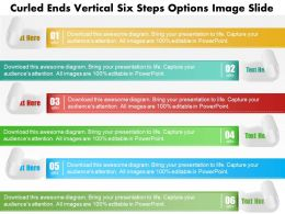 0914 Business Plan Curled Ends Vertical Six Steps Options Image Slide Powerpoint Template
