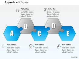 0914 Business Plan Five Alphabetic Hexagonal Shape Blocks Agenda Diagram Powerpoint Presentation Template