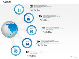 0914 Business Plan Five Points Agenda With Globe Diagram Powerpoint Presentation Template
