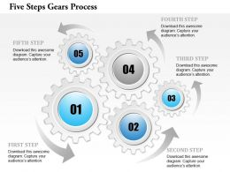 0914 Business Plan Five Steps Gears Process Powerpoint Template