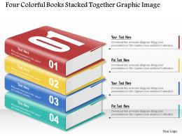 0914 Business Plan Four Colorful Books Stacked Together Graphic Image Powerpoint Template