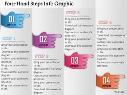 0914 Business Plan Four Hand Steps Info Graphic Powerpoint Presentation Template