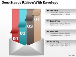 0914 Business Plan Four Stages Ribbon With Envelope Image Slide Powerpoint Template