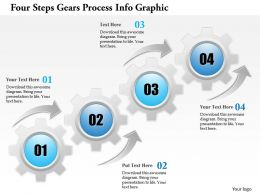 0914 Business Plan Four Steps Gears Process Info Graphic Powerpoint Template