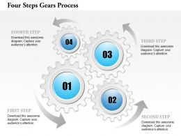 0914 Business Plan Four Steps Gears Process Powerpoint Template