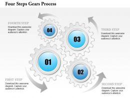 0914 Business Plan Four Steps Gears Process Powerpoint Template