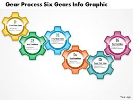 0914 Business Plan Gear Process Six Gears Info Graphic Powerpoint Presentation Template
