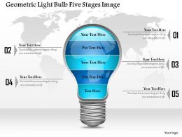 0914 Business Plan Geometric Light Bulb Five Stages Image Powerpoint Template