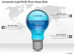 0914 Business Plan Geometric Light Bulb Three Steps Slide Powerpoint Template