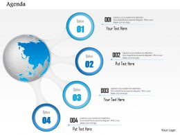 0914 Business Plan Globe With Four Points Agenda Diagram Powerpoint Presentation Template