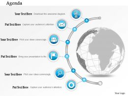 0914 Business Plan Globe With Semi Circular Icon Line Agenda Powerpoint Presentation Template