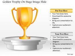 0914 Business Plan Golden Trophy On Stage Image Slide Powerpoint Template