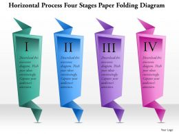0914 Business Plan Horizontal Process Four Stages Paper Folding Diagram Powerpoint Template
