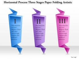 0914 Business Plan Horizontal Process Three Stages Paper Folding Artistic Graphic Powerpoint Template