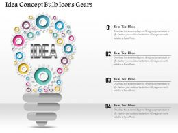 0914 Business Plan Idea Concept Bulb Icons Gears Graphic Slide Powerpoint Template