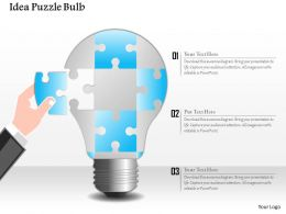 0914 Business Plan Idea Puzzle Bulb Powerpoint Presentation Template