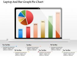 0914 Business Plan Laptop And Bar Graph Pie Chart Powerpoint Template
