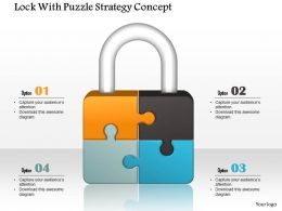 0914 Business Plan Lock With Puzzle Strategy Concept Image Slide Powerpoint Template