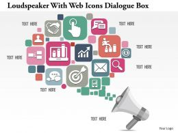 0914 Business Plan Loudspeaker With Web Icons Dialogue Box Image Slide Powerpoint Template