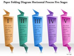 0914 Business Plan Paper Folding Diagram Horizontal Process Five Stages Powerpoint Template