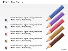 0914 Business Plan Pencil Five Stages Process Option Powerpoint Presentation Template