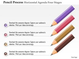 0914 Business Plan Pencil Process Horizontal Agenda Four Stages Powerpoint Presentation Template