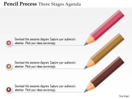 0914 Business Plan Pencil Process Three Stages Agenda Powerpoint Presentation Template