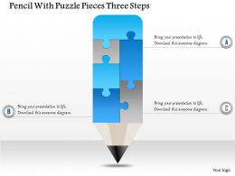 0914 Business Plan Pencil With Puzzle Pieces Three Steps Powerpoint Template