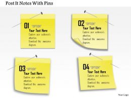 0914 Business Plan Post It Notes With Pins Powerpoint Template