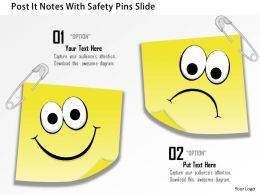 0914 Business Plan Post It Notes With Safety Pins Slide Powerpoint Template