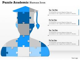 0914 Business Plan Puzzle Academic Human Icon Powerpoint Presentation Template
