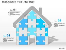 0914 Business Plan Puzzle House With Three Steps Image Slide Powerpoint Template