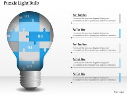 0914 Business Plan Puzzle Light Bulb Powerpoint Presentation Template