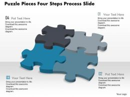 0914 Business Plan Puzzle Pieces Four Steps Process Slide Powerpoint Template