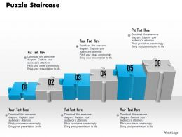 0914 Business Plan Puzzle Pieces Staircase Graphic Image Slide Powerpoint Template