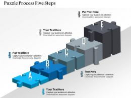 0914 Business Plan Puzzle Process Five Steps Powerpoint Template