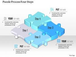 0914 Business Plan Puzzle Process Four Steps Powerpoint Template
