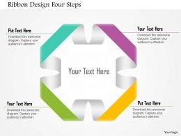 0914 Business Plan Ribbon Design Four Steps Powerpoint Template