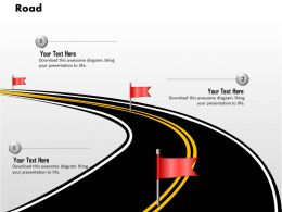 0914 Business Plan Road With Flags Road Mapping Image Slide Powerpoint Template