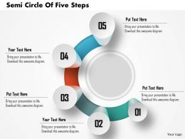 0914 Business Plan Semi Circle Of Five Steps Image Slide Powerpoint Template